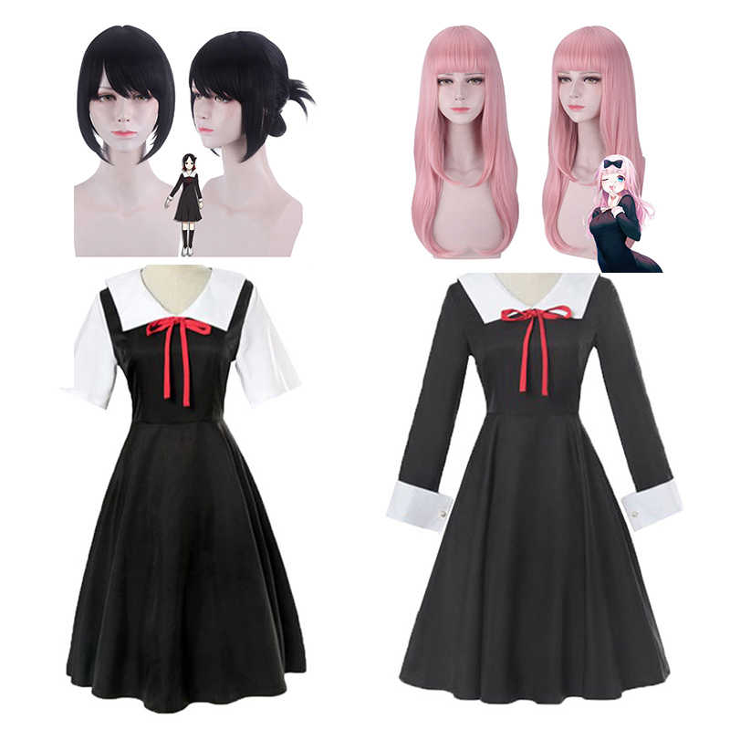 Anime Kaguya Sama Cinta Adalah Perang Cosplay Kostum Set Kaguya Shinomiya Chika Cosplay Kostum Black School Uniform Dress + wig