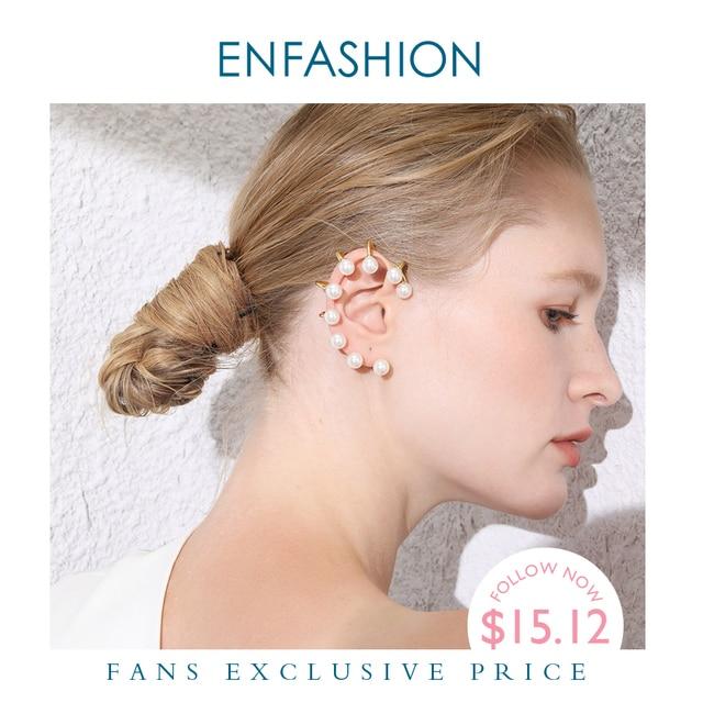 ENFASHION Pendientes gemelos de perla para oreja para mujer, aretes grandes de Color dorado sin perforación, joyería, aretes EC191067