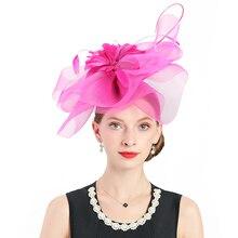 Fascinators Pink Feather Hat Polyester British Royal Wedding Hats for Church Women Vintage Bow Cocktail Fedoras Headband Flower цены