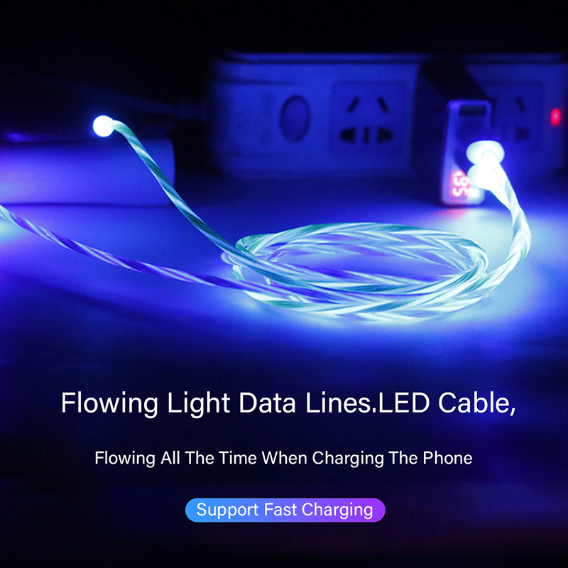 Magnetic LED Light Cable 2 4A Fast Charging Magnet Micro USB Type C Cable Lighting Cord Type C Charger For Iphone Xs Samsung S10 in Mobile Phone Cables from Cellphones Telecommunications