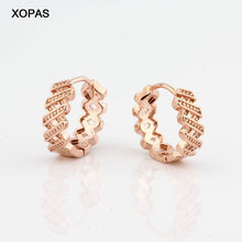New Vintage Pattern Design Small Round 585 Rose Gold Copper Earrings Wedding Cute Hoop Earrings For Women Fashion Jewelry(China)