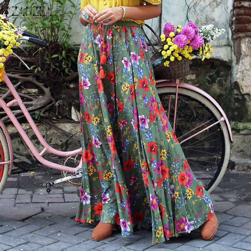 Plus Size ZANZEA Fashion Floral Print Skirts 2021 Summer Elastic Waist Lace Up Skirts Casual Maxi Skirts Ladies Holiday Bottoms