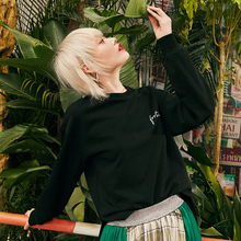 Samstree Black Letter Embroidery Casual Sweatshirt Women Pullover 2019 Autumn New Fashion Minimalist Female Top