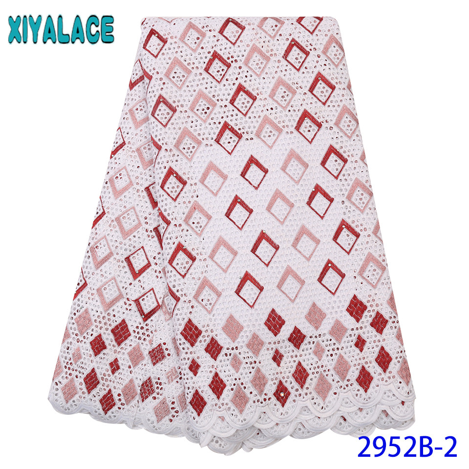 Best Selling Nigeria Lace,swiss Lace Fabric Colors,High Quality African Cotton Fabric Lace With Stones KS2952B-2