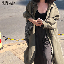SuperAen Pluz Sized Trench Coat for Women Single-Breasted Autumn New 2020 Solid