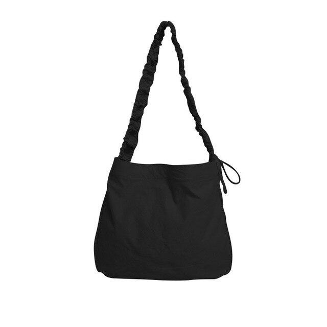 Women's Bag Korean Art Canvas Bag Drawstring Wide Shoulder Strap Messenger Bag Female Student Shoulder School Bag 5