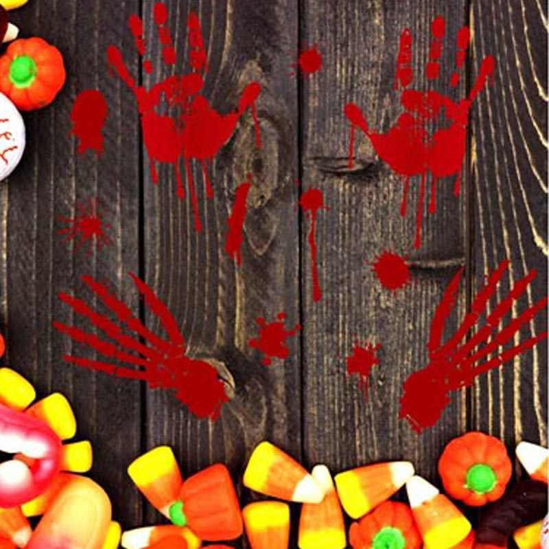 Pegatinas de pared para ventana de Halloween DIY con estampado de huellas dactilares ensanchadas Rojas calcomanías de impresión de manos impermeables para pared