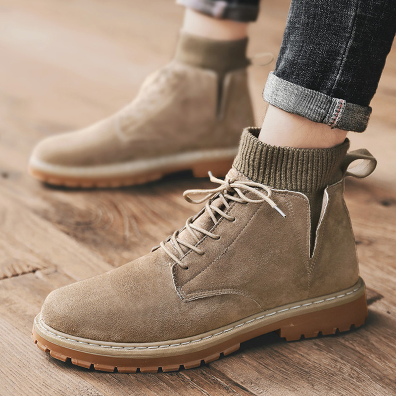 Mens Suede High Top Desert Casual Work Ankle Boots Round Toe Lace Up Safety Shoe
