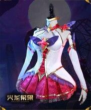 Hot!!LOL Star Guardian Magic Girl the Nine-Tailed Fox Ahri Cosplay Costume New Dress For Women H цена 2017