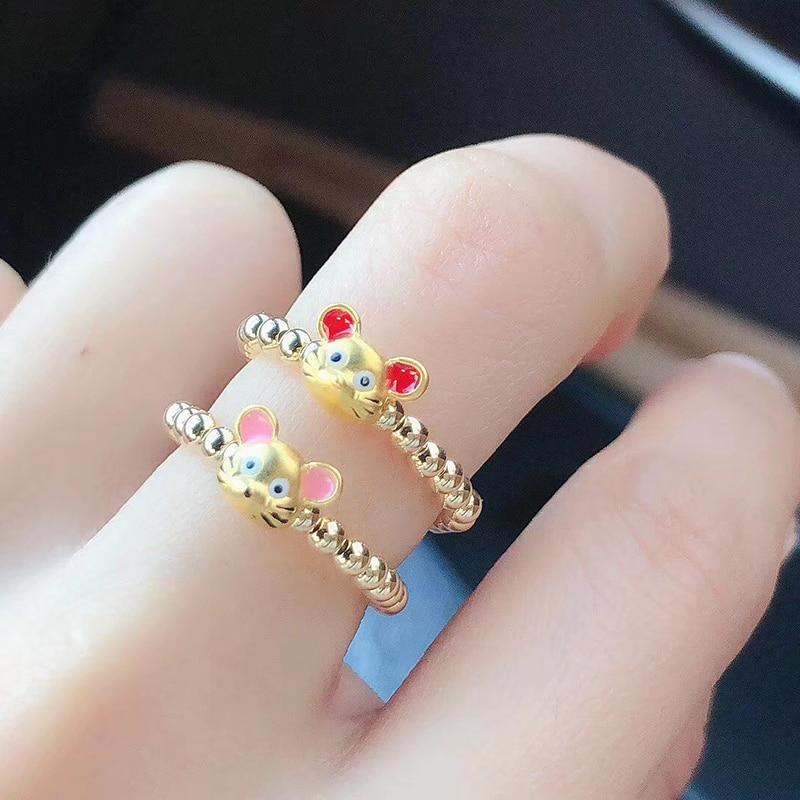 Bague souris or jaune 24K bague perles or jaune 18K bague souris zodiaque chinois