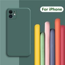 고급 소프트 액체 실리콘 케이스 아이폰 SE 2020 케이스 커버 아이폰 11 프로 맥스 케이스 X XR XS 5 6 6s 7 8 플러스 SE 2 SE2 커버