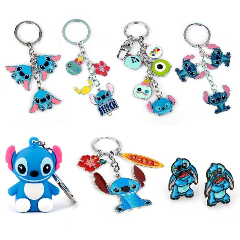 Cartoon 3D Dolls Stitch Keychain Lovely Bags Car Key Buckle  Alloy Pendant Key Ring Chains Gift