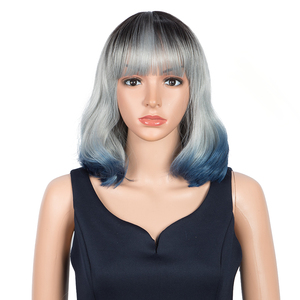 Brown to Light Blonde Ombre Hair Straight Layered Bob Synthetic Wigs Middle Part For Women Heat Resistant Cosplay Wigs