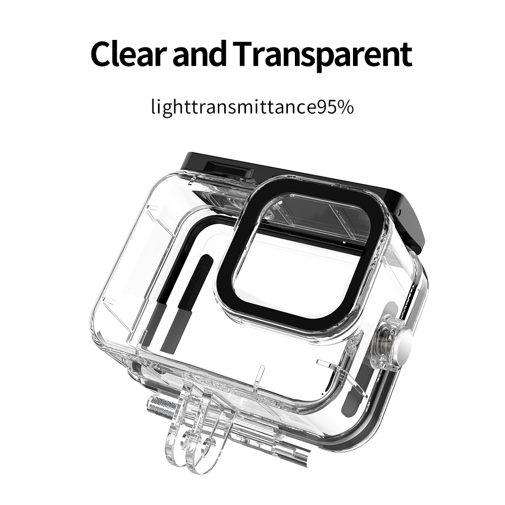 TELESIN 50M Waterproof Case Underwater Tempered Glass Diving Housing Cover Lens Filter for GoPro Hero 9 Black Camera Accessories 5
