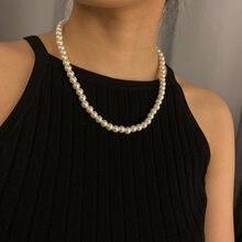 Collier en perles rondes pour femmes, bijou géométrique Simple, avec pompon monocouche, imitation de perles, fait à la main