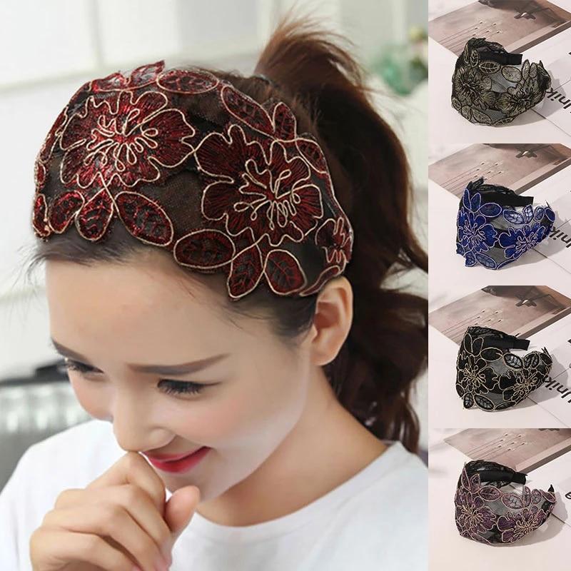 Wide Lace Headbands Hair Hoop Hair Accessory Headwear Hairband for Women S