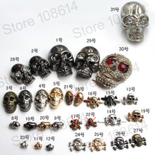 skull rivets silver studs spikes Cool Skull Ghost Rivet Stud Punk for Bracelet Bag Leather DIY Craft DIY On Bags Leather Bracele(China)