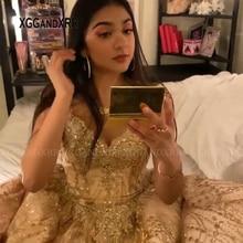 Cao Cấp Vàng Quinceanera Váy 2020 Người Yêu Spaghetti Sáng Ren Aplique Ngọt 15 16 Đầm Sinh Nhật Áo Choàng