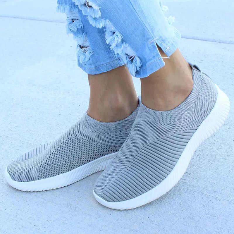 Sneaksrs vrouwen schoenen 2019 mode breien ademend wandelschoenen slip op platte schoenen comfortabele casual schoenen vrouw plus size