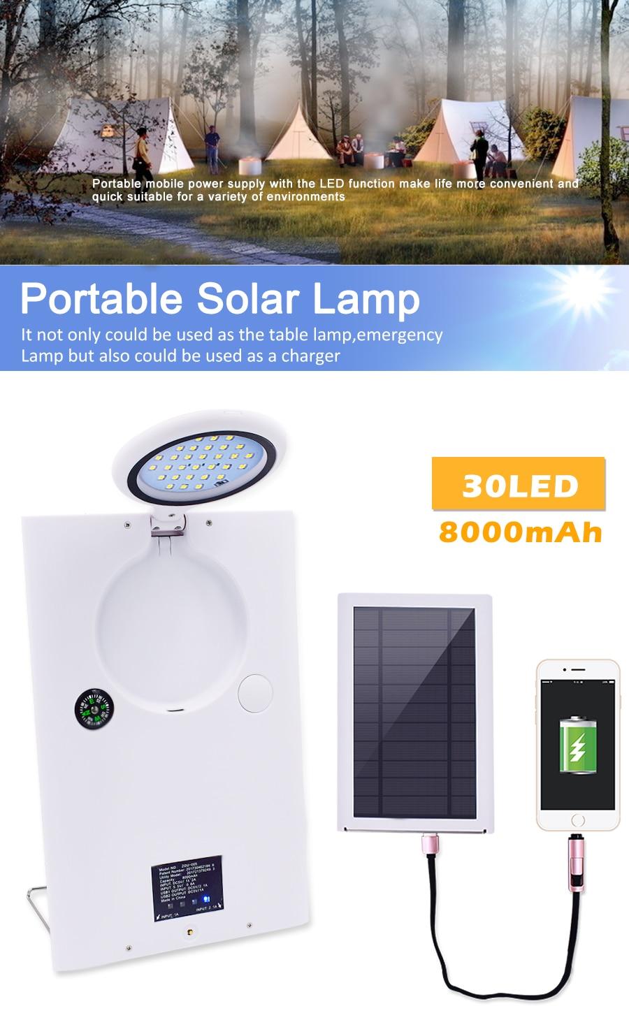 30 portatil levou luz de energia solar ao ar livre a prova d agua acampamento luz