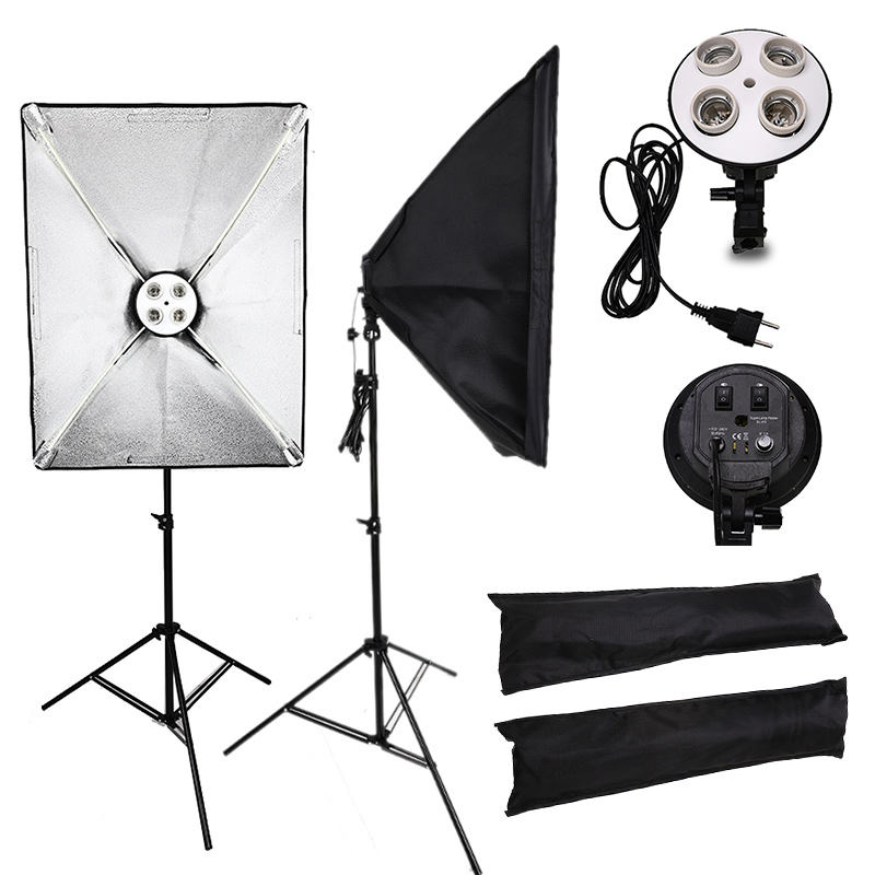 Professional 50x70CM Lighting Four Lamp Softbox Kit E27 Base Holder Soft Box Camera Accessories For Photo Studio Video