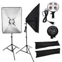 Professionelle 50x70CM Beleuchtung Vier Lampe Softbox Kit E27 Basis Halter Weiche Box Kamera Zubehör Für Foto Studio video