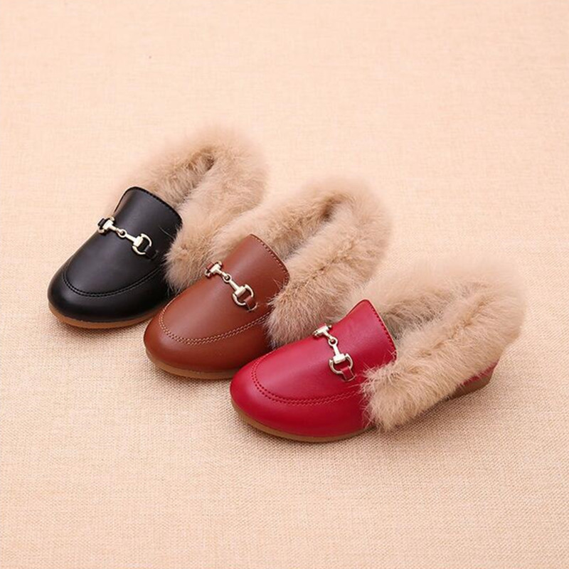 Kids Loafers Kids Metal Chain Shoes Winter Warm Boys Girl Black Brown Fur Flat Rubber Non-slip Leather Velvet Fluffy Fur