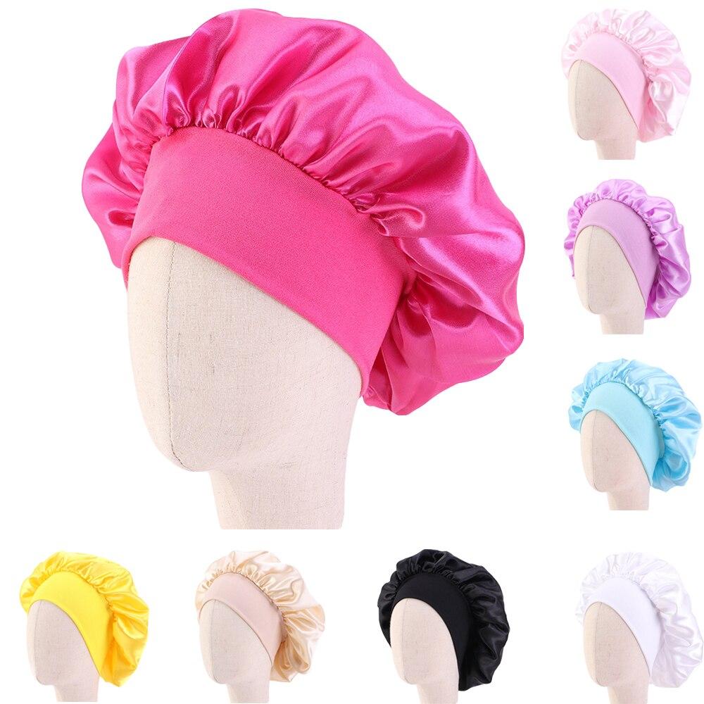 Атласная шапочка для девочек, шапка для ночного сна и ухода за волосами, эластичная повязка на голову, головной убор, шапка для душа, широкие ...