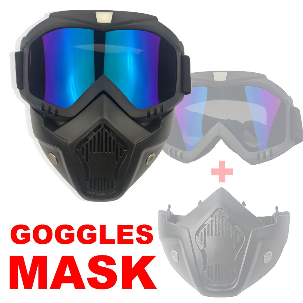 Outdoor Motorcycle Anti-Fog Goggles Mask Tactical Paintball Airsoft Protective Mask Offroad Cycling Detachable Modular Masks