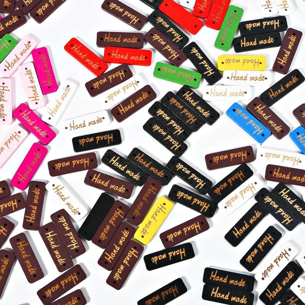 Винтажные прямоугольные этикетки ручной работы, 50 шт./лот, деревянные буквенные бирки, рельефная этикетка «сделай сам», одежда, швейная ткан...