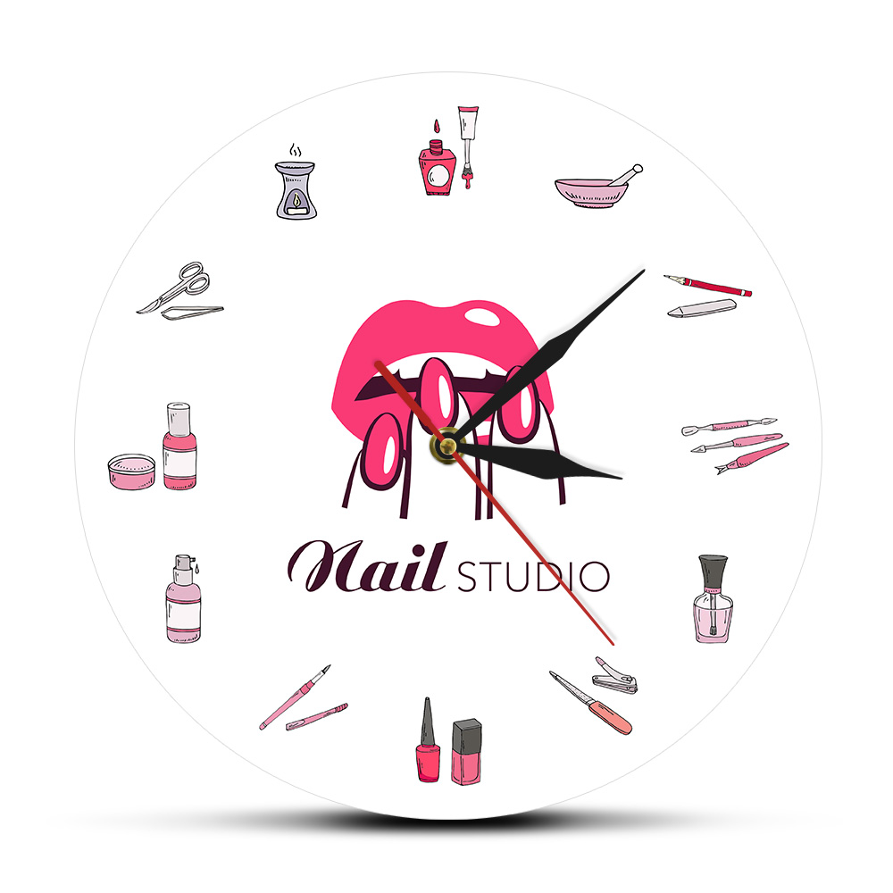 Beauty Salon Nail Studio Wall Clock Modern Design Nail Art Manicure Shop 3D Acrylic Clock Wall Sign Decor Hanging Watch title=