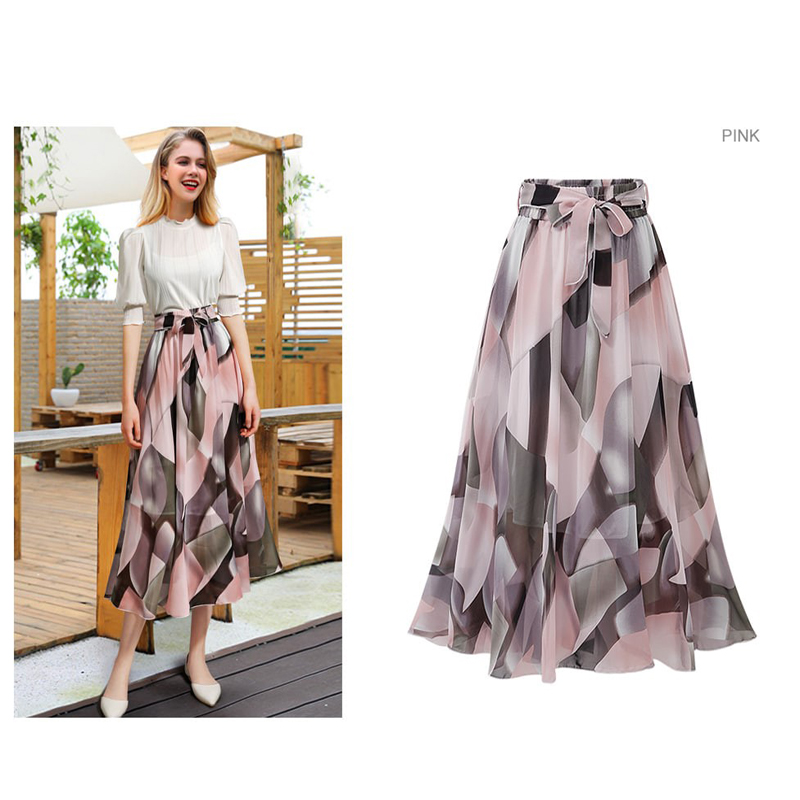 Women Skirt Print Chiffon High-Waist Female Plus-Size Elascity High-Waist Vintage Sexy Korean Casual Summer Plus-Size Skirt