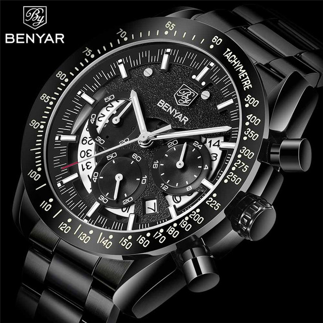 BENYAR Fashion Sport Watch Men Top Brand Luxury Black Male Chronograph Clock Military Stainless Steel Waterproof Wristwatch 5120