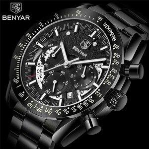 Image 1 - BENYAR אופנה ספורט שעון גברים למעלה מותג יוקרה שחור זכר הכרונוגרף שעון צבאי עמיד למים נירוסטה שעוני יד 5120