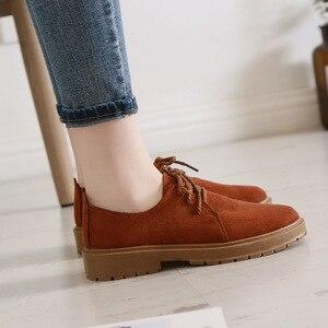 Image 3 - 2020 סתיו חדש נעלי נשים שטוח מרטין מגפי נעליים יומיומיות אישה האופנה אוקספורד רטרו אלגנטי שרוכים החלקה