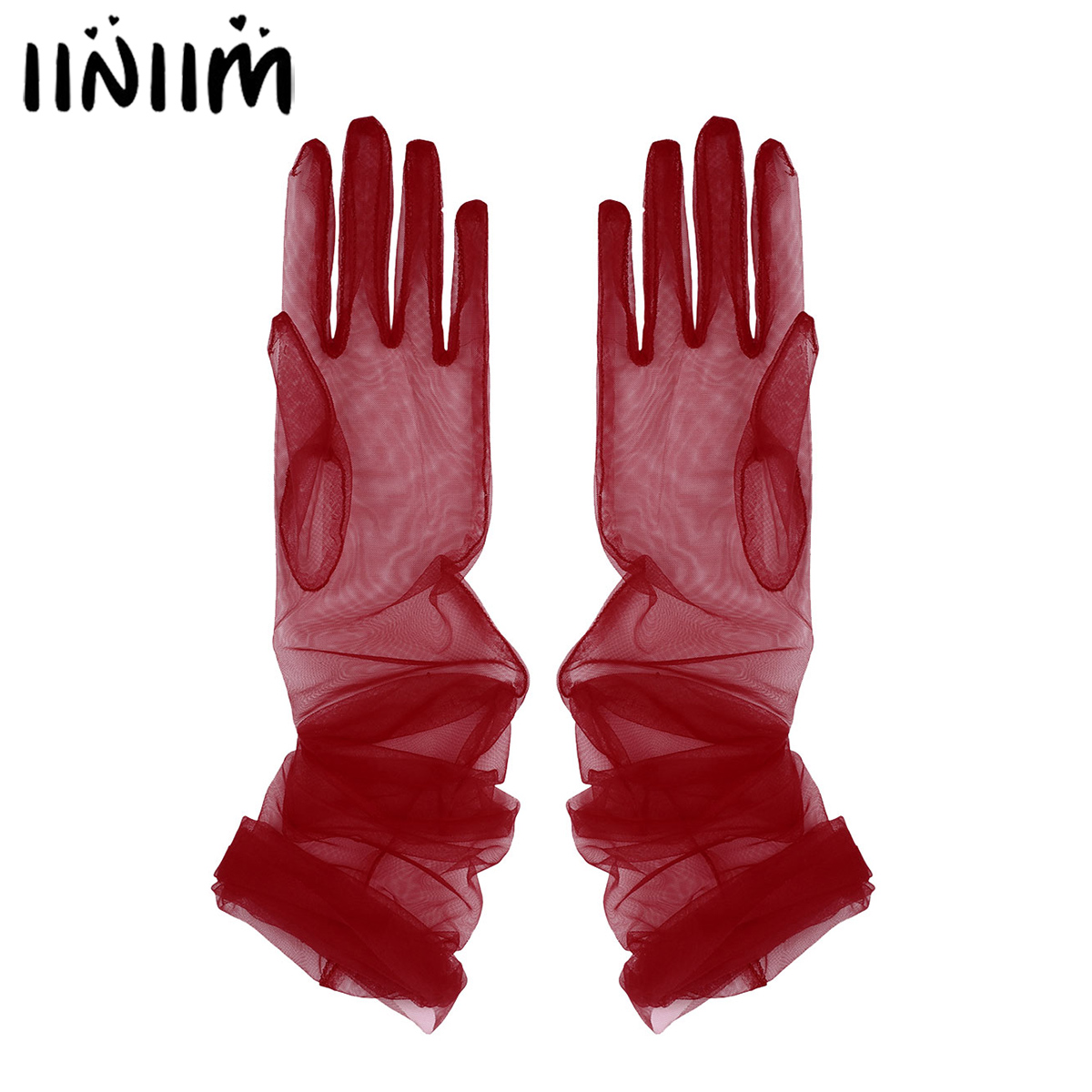 Iiniim Elegant Women Adult Bridal Transparent Tulle Full Finger Long Gloves Mittens For Wedding Party Photography Accessories
