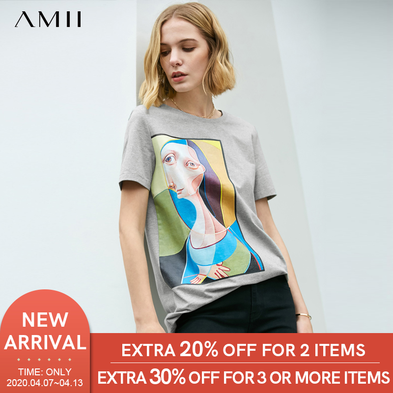 Amii Minimalist Printed T-shirt Female Summer Artistic Print Loose Round Neck Women Tops 11960029