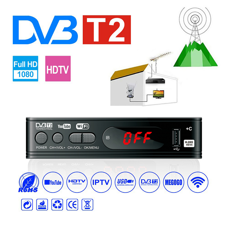 HDMI Satellite Tv récepteur Tuner Dvb T2 Wifi Usb2.0 Full HD 1080P Dvb-t2 Tuner TV boîte Dvbt2 ou antenne intégré russe manuel