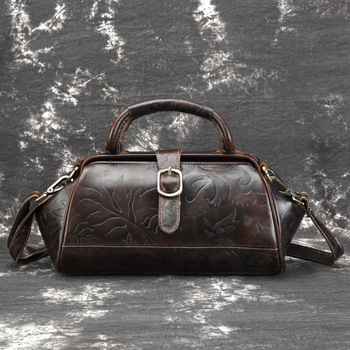 Genuine Leather Woman Package Oil Wax Single Shoulder Satchel Head Layer Cowhide Handbag Leisure Time Postman Package