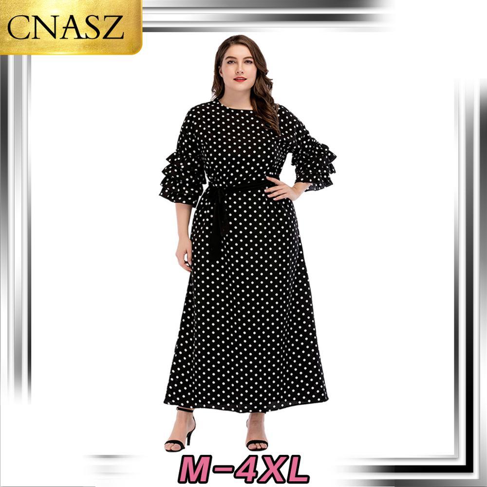 Latest Muslim Large Size Women's Middle East Arabic Long Skirt Islamic Turkey Ruffles Sleeves Point Fashion Dress Dubai Morocan