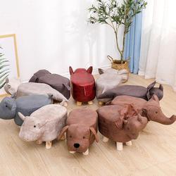 Solid Wood Cartoon Stool Animal Stool Ottoman Sofa Door Side Footstool Kids Gaming Bench Living Room Pouf Elephant Dog