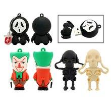 Cartoon Joker USB Flash Drive 256GB 128GB 64GB 32GB16GB 8GB 4GB Pendrive Skull Ghost Pen Drive USB Stick Drrive Gift