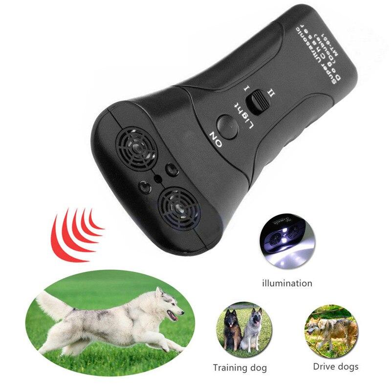 Hot Selling Ultrasonic Anti Dog Barking font b Pet b font Trainer LED Light Gentle Chaser