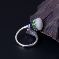 Solid 925 Sterling Silver Rings for Women Chalcedony Seedpod of the Lotus Ring Adjustable Enamel Unique Party Ethnic Jewelry