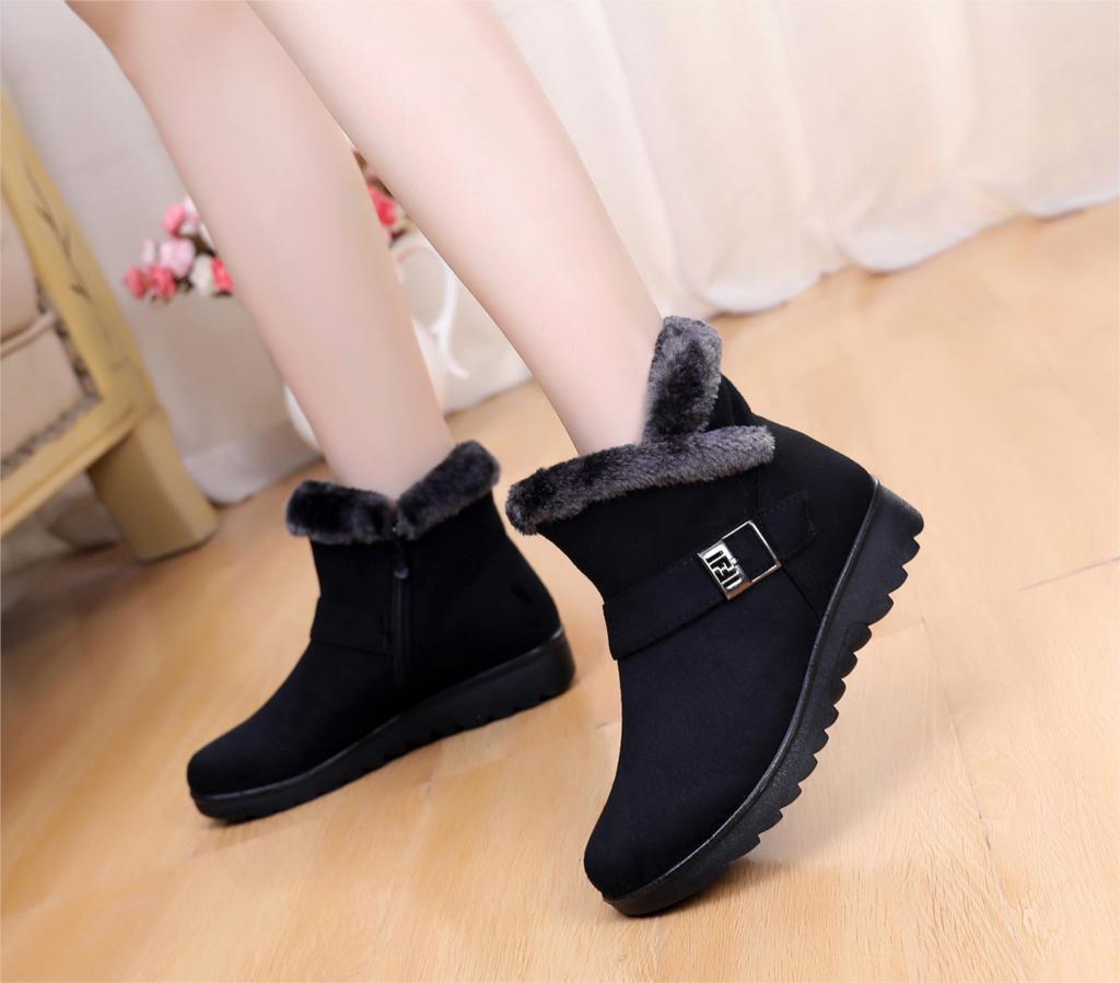 Snow Boots Women Winter Warm Fur Ladies buckle Platform Wedge Fashion Ankle Boot Female Comfort Casual Shoes Plus Size st480