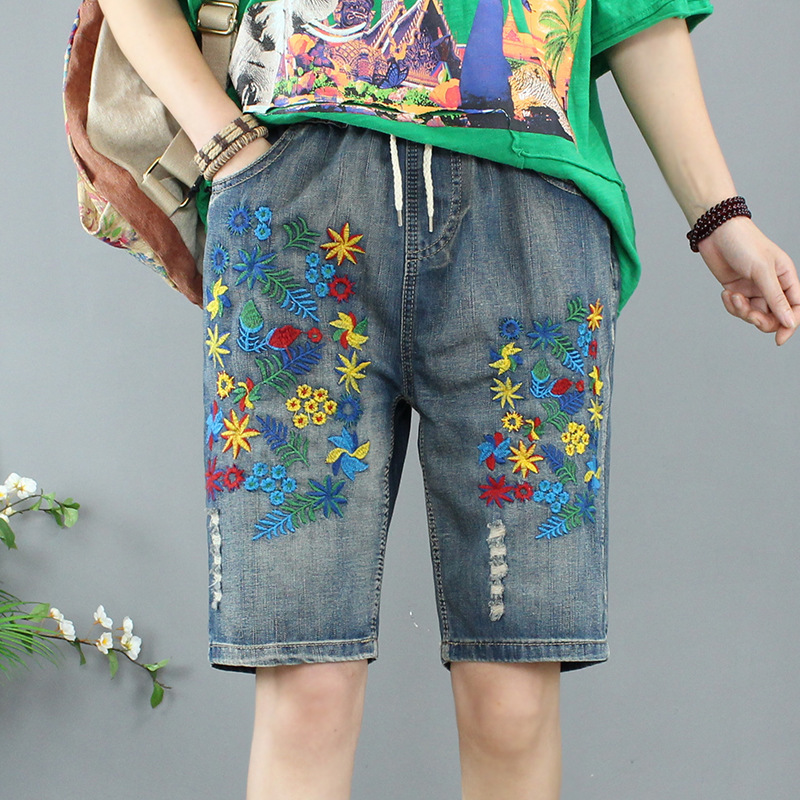 Summer Women Shorts Jeans Feminino Washed Ripped Denim Capris Jeans Femme Large Size 3XL Loose Embroidery High Waist Jeans Short