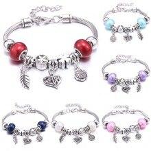Dropshipping Rose frower leaf glass beads Brand Bracelets for Women DIY Beads Bracelets & Bangles Charm Bracelet Jewelry Gift