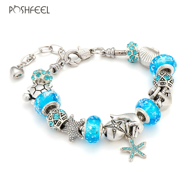 Poshfeel Summer Jewelry Starfish / Turtle Silver Charm Bracelets para mujeres Blue Murano Glass Beads Pulseras y brazaletes Mbr170276