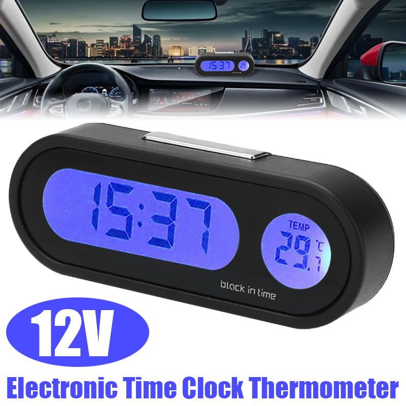 1PC 12V LCD Digital LED Car Electronic Time Clock Thermometer For Auto Interior Replacement Accessories