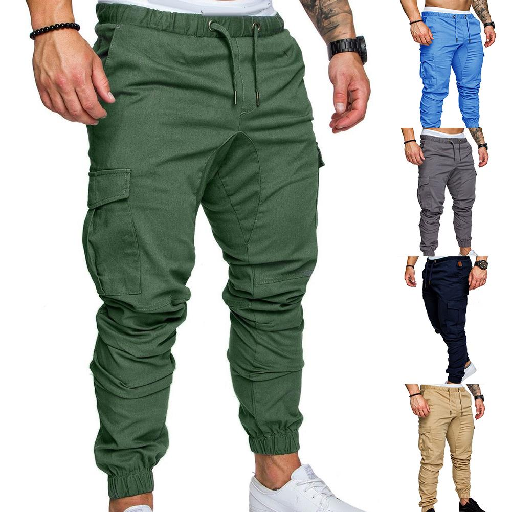 Men Elastic Waist Tether Casual Multi Pockets Overalls Cargo Black Trousers